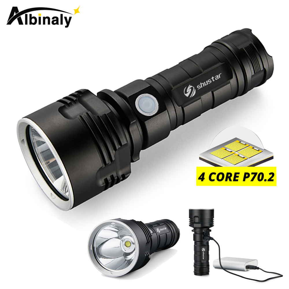 Ultra Bright LED Flashlight With <font><b>4</b></font> CoreP70.2 Lamp bead 3 Lighting modes waterproof camping huting light Powered by <font><b>26650</b></font> battery image