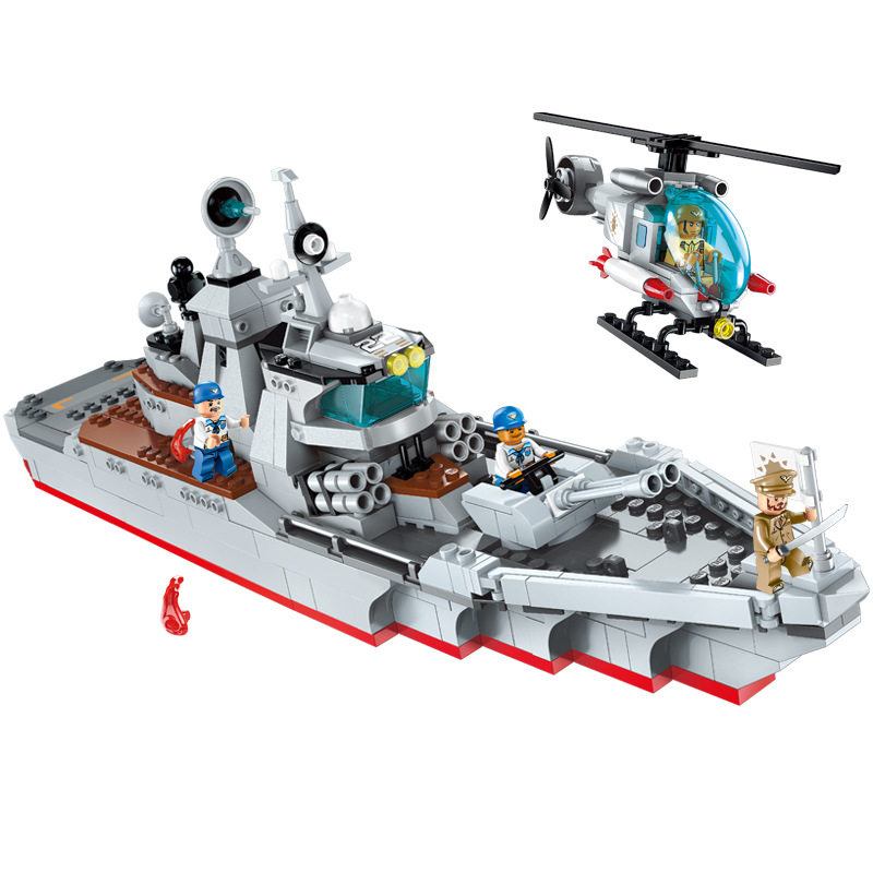 539Pcs 1722 Military Series Destroyer Attacks Boy Small Particle Assembled Building Block Toys Gifts