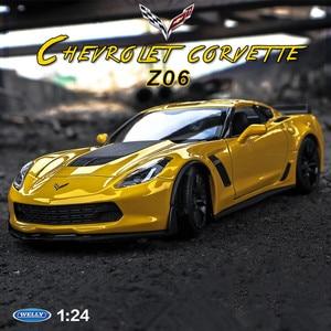 Welly 1:24 Chevrolet Corvette Z06 модель автомобиля из сплава моделирование украшения автомобиля коллекция Подарочная игрушка Литье под давлением модель...