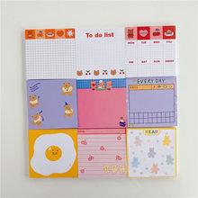 50 arkuszy Korea papier radość niedźwiedź Planner kartki samoprzylepne Kawaii biurowe śliczne notatnik notatnik biuro zostaw wiadomość materiały biurowe