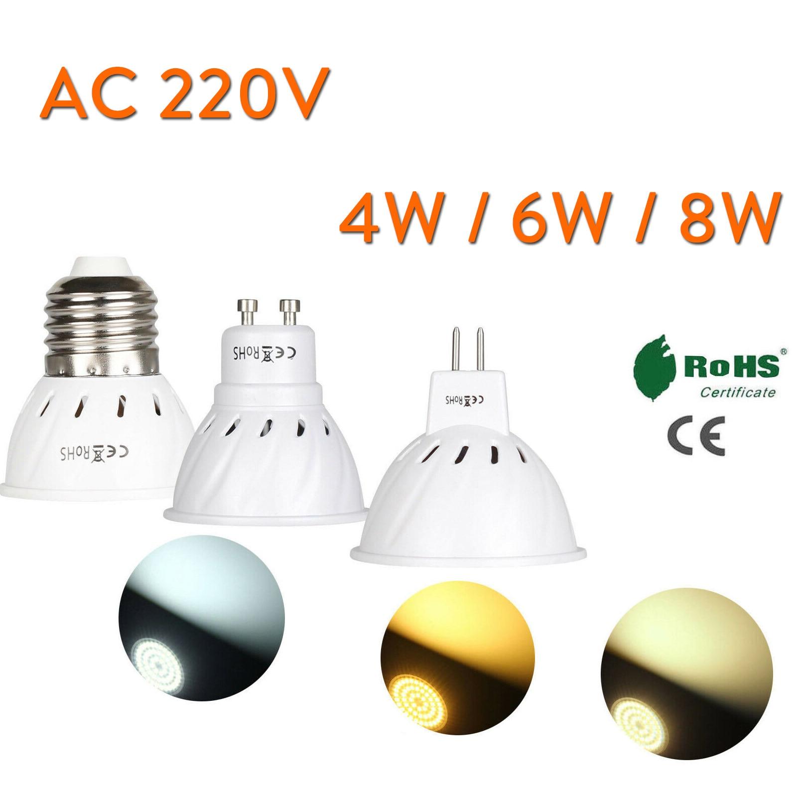4W 6W 8W GU10 E27 MR16 220V LED Lamp Spotlight Bulb 36 54 72 Leds Lampara GU 10 Bombillas Lampada Spot Light Lamps Save Energy