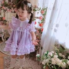 2PCS Baby Mädchen Sommer Vintage Puppe Spanisch Ballkleid Lolita Prinzessin Spitze Kleid Set für Ostern Eid Geburtstag Casul