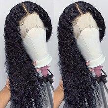 Parrucche aircab 30 pollici HD T parte pizzo crespo onda riccia Glueless brasiliano colore naturale Remy parrucche del merletto dei capelli umani per le donne nere