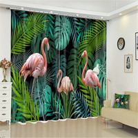 Luxury 3D Blackout Window Curtain Flamingo Pattern green Curtains Primeval Forest Curtain Drapery Rideaux Custom size