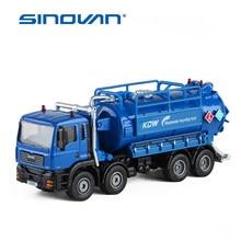 Transporte de águas residuais de liga coleta caminhão crianças brinquedos engenharia veículo diecast kdw 1:50 simulaion tanque de armazenamento de água de lixo