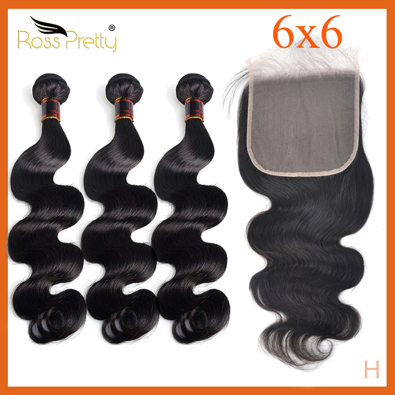 6x6 Lace Closure With Bundles Remy Human Hair Weave With Closure Baby Hair Brazilian Body Wave Pre Plucked Ross Pretty