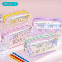 High Capacity Pencil Pouch Creative Reflection PVC Pencil Case Bangtan Cosmetic Bag School for Girls Kawaii Korean Stationery(China)