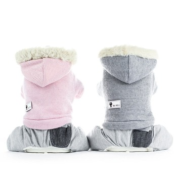 Korean Style Dog Clothes Four-legged Cotton Hooded Coat Warm Autumn Winter Small Medium-sized Teddy Clothing Cartoon Boys Ropa image