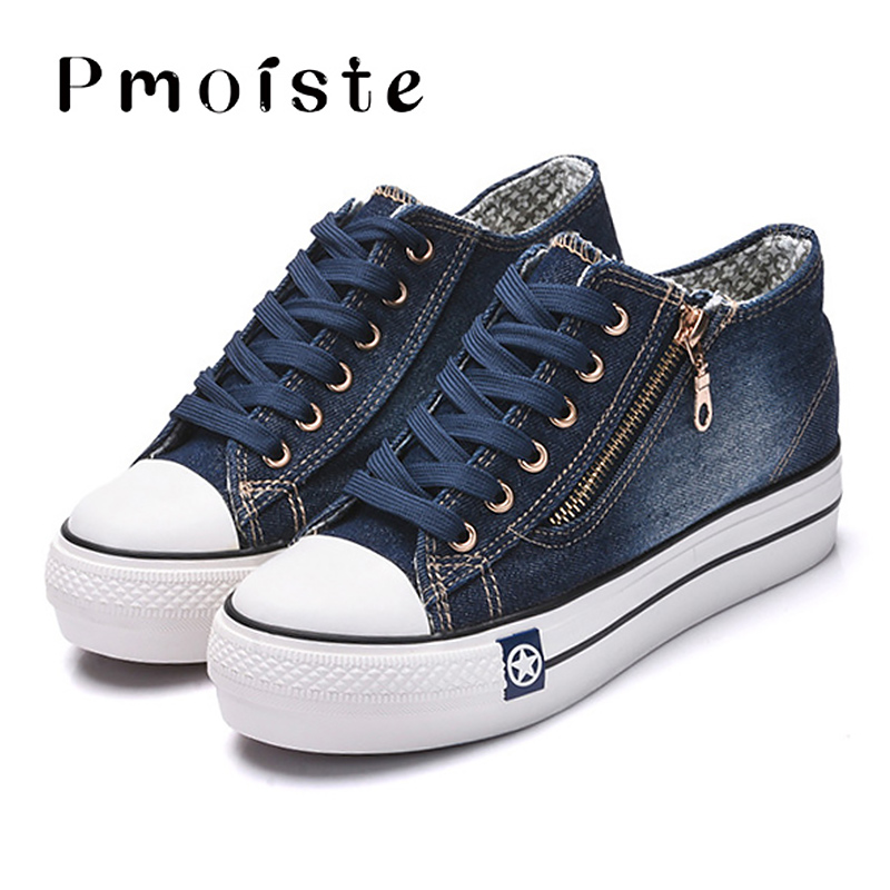 Canvas shoes for girls 2020 Spring Fashion Sneakers Solid Sewing Women Denim Shoe Sapato Feminino Size 35-41 6