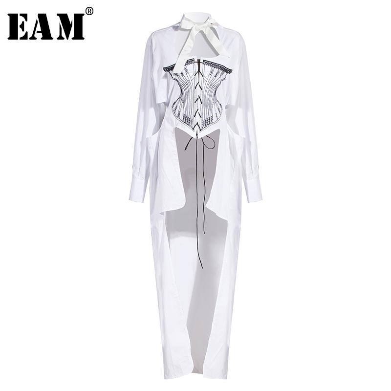 [EAM] Women White Printed Hollow Out Back Long Blouse New Stand Collar Long Sleeve Loose Shirt Fashion Spring Summer 2020 1W016