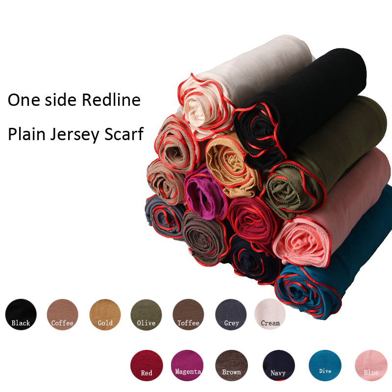 180*80cm One Side Redline Plain Jersey Scarf Soft Materail Long Shawls Wraps Solid Color Trendy Women Hijab Scarf