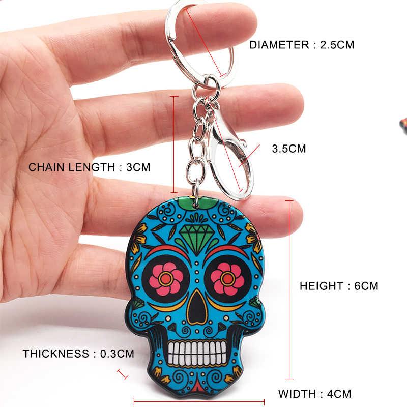 Keychain del cranio del Calavera Messicano Carino Dolce Del Cranio Dello Zucchero Big Lobster Catena Chiave Portachiavi di Halloween Acrilico Del Cranio Anello Chiave del Sacchetto Pendenti e Ciondoli