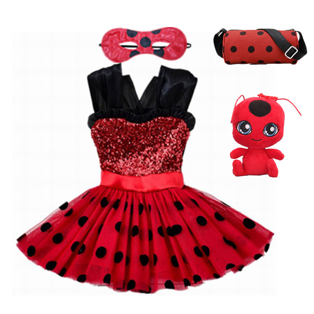 Carnival 2019 Ladybug cosplay Girls Dress Summer Clothes Lady bug Party Dress Children's day Lace Dot Baby Girls Dresses bag Toy