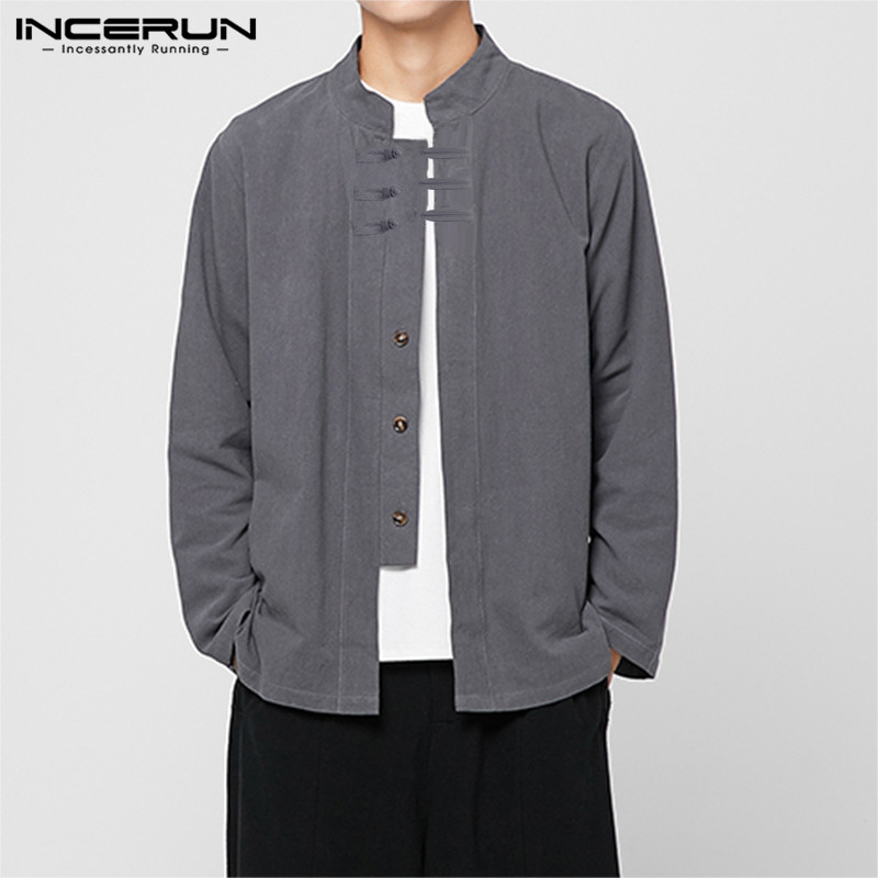 Cotton <font><b>Linen</b></font> <font><b>Shirt</b></font> <font><b>Men</b></font> Stand Collar 2019 Long Sleeve Solid Chinese Style <font><b>Shirts</b></font> Button Brand <font><b>Vintage</b></font> Casual Camisa S-3XL INCERUN image