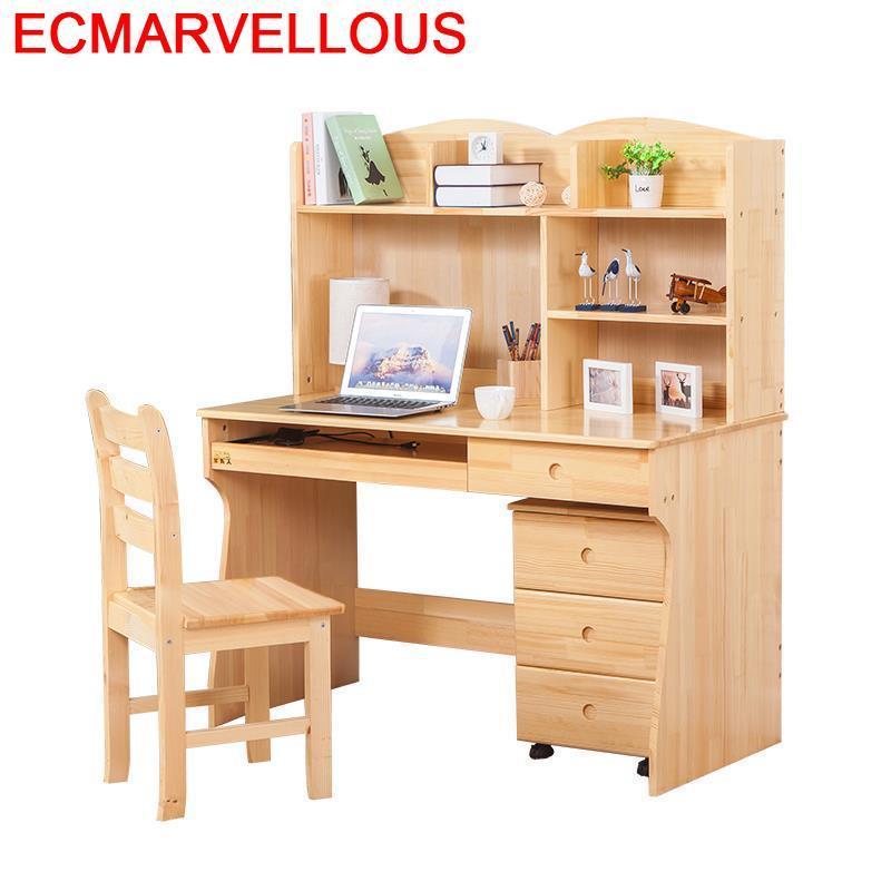 Portable Tisch Pliante Office Furniture Bed Mesa Portatil Retro Wooden Computer Bedside Tablo Desk Table With Bookshelf