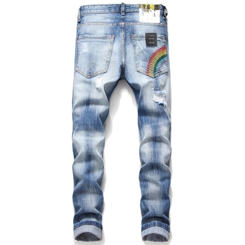 Men Jeans Skinny Blue Jean Homme Denim Ripped Biker Stretch Pants Trousers Slim Fit Streetwear Hombre Fashions Pantalones