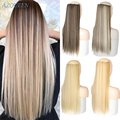 AZQUEN 5 клипс длинный прямой Синтетические пряди для наращивания волос на клипсах из высокое Температура волокна чёрный; коричневый парик, за...