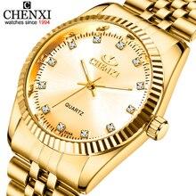 Золотой золотые часы мода мужчины смотреть полный золота нержавеющей стали кварцевые часы наручные часы оптом chenxi золотые часы мужчины