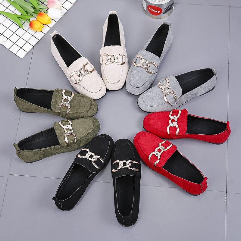 Moda nova sapatos femininos sapatos alpercatas tendência fivela de metal sapatos casuais femininos boca rasa sapatos de lona respirável