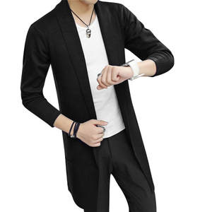 Cardigan Coat Down-Jacket Knitted Men's Casual New Solid Slim-Fit Long-Sleeved