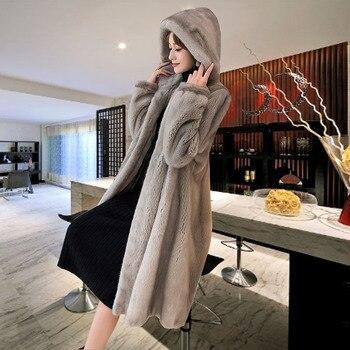 شتاء جديد المنك معطف المرأة حجم كبير M-5XL فوق الركبة ماء المخملية الفراء معاطف أنثى متوسطة طويلة سميكة الفراء الفراء