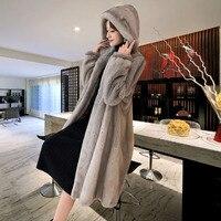 Winter new mink coat women's large size M 5XL over the knee waterproof velvet fur coats female medium long thick padgyk fur