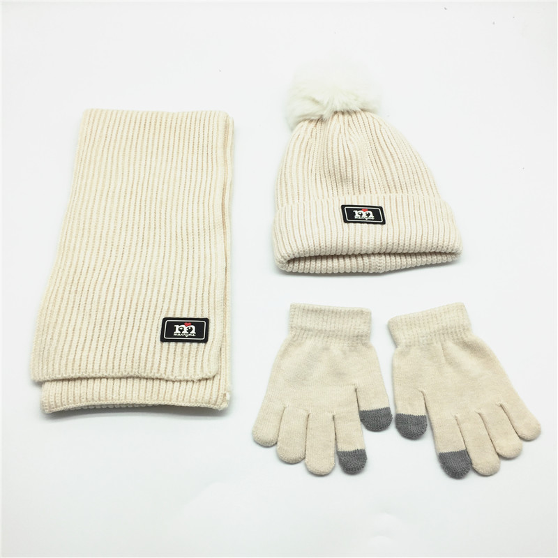 Kids Solid Scarf Hat Glove Set Faux Fur Pompom Set Velvet Fleece Soft Lining Hat Children Beanie Mitten Winter Sets Navy Pink