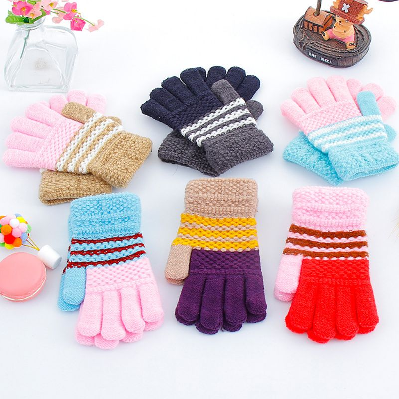 Cotton Blend Cute Soft Winter Warm Knitting Mittens Gloves For Kid Baby Boy Girl