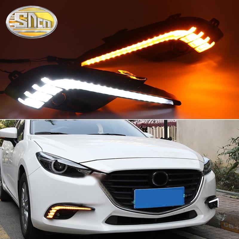 2PCS LED Tagfahrlicht Licht Dynamische Gelb Blinker 12V LED DRL Lampe Wasserdicht ABS Für Mazda 3 2017 2018 Axela
