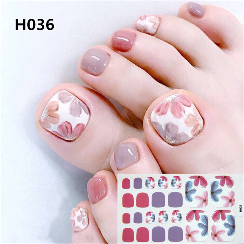 22tips Korea Toe Nail Sticker Wraps Adhesive Decals Toenail Polish Strips DIY Pedicure Foot Decals Manicure Women-in Stickers & Decals from Beauty & Health