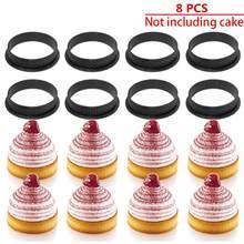 8 шт., инструмент для украшения круглых муссов, для французского десерта, сделай сам, форма для торта, ПЕРФОРИРОВАННОЕ кольцо для торта, кругл...