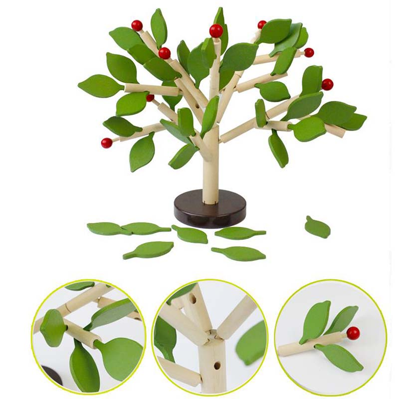 2019 Newest Children DIY Wooden Fight Inserted Blocks Leaves Balance Wisdom Tree Block Toys Early Educational Game For Building Block.