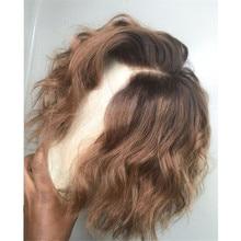 Krótka brązowa i miód blond koronki przodu peruki Ombre kolorowe faliste Bob 150% Remy ludzki włos peruki dla kobiet wstępnie oskubane Blunt Cut