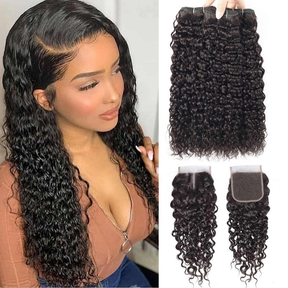 Water Wave Bundles With Closure Remy Human Hair Bundles With Closure Brazilian Hair Weave Bundles With Closure