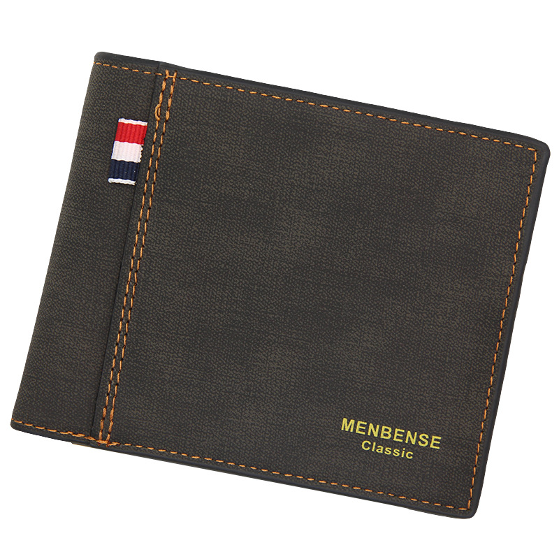 Men's Wallet Money Bag Solid Color Leather Business Short Wallet Famous Vintage Male Walltes Purse 2