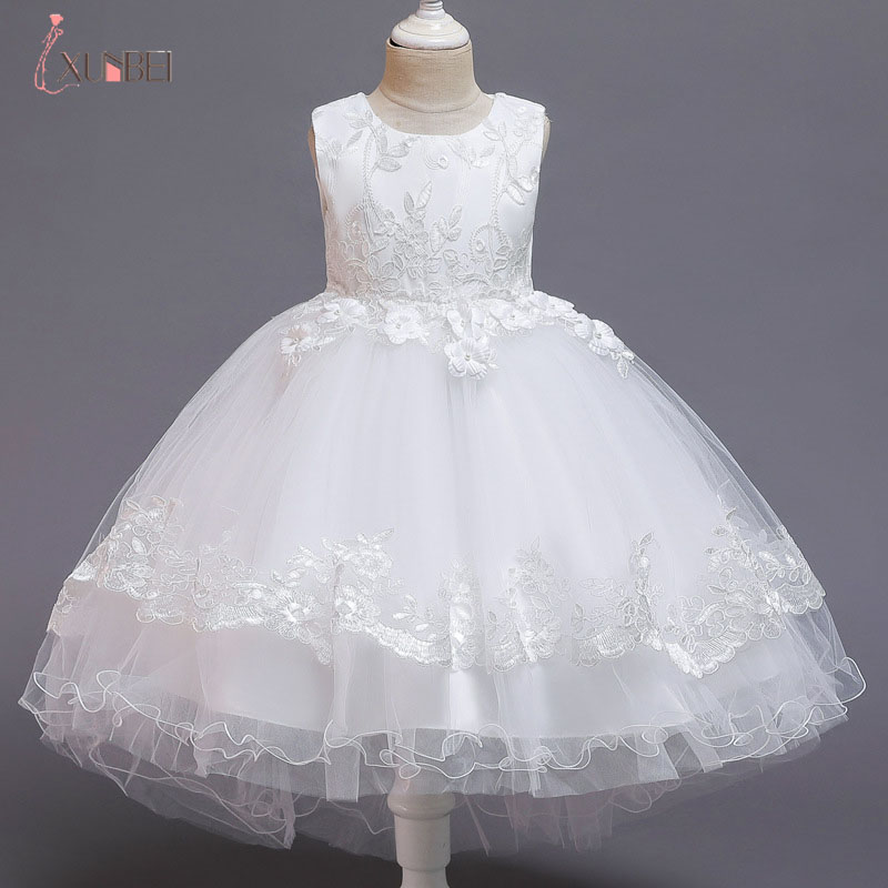 2021 Summer Cute Sleeveless Flowers Girls Dresses Tulle Bow Appliques Princess Wedding Party Lace Ball Gown Girls Clothing 3-10Y
