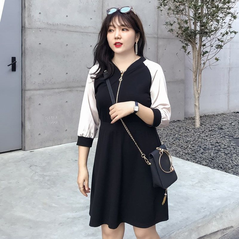Big Size Womens Summer Strap Dress Little Fat Sister Spring New V-neck 7 / 6 Sleeve Belly Covering Fat MM Fashion Kawaii Genuine