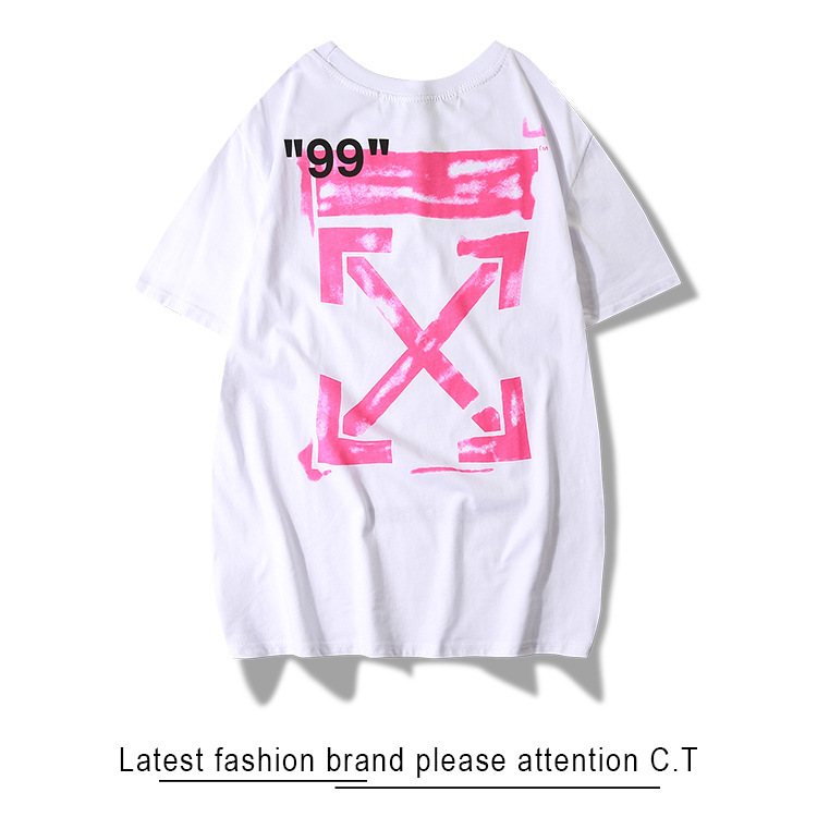 19ss Off Ow White Short Sleeve Crew Neck Men And Women Celebrity Style Pink Rendering Arrowhead Loose-Fit Popular Brand T-shirt