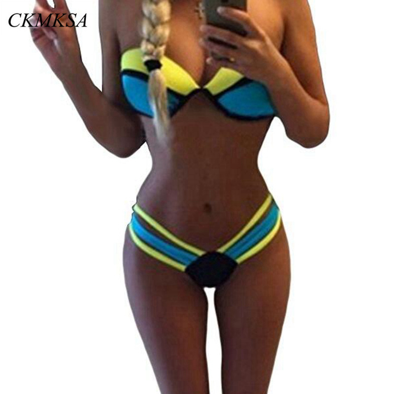 2019 Women Bikini Set Sexy Padded Swimsuit Blue And Yellow Push Up Bandeau Swimwear Summer Beachwear Splice Brazil Bathing