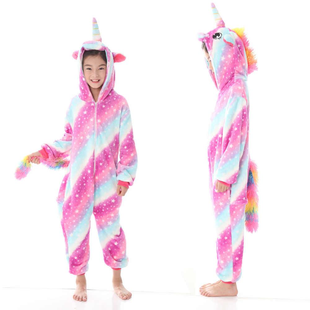 Pigiama Kigurumi unicorno per bambini neonate pigiama ragazzi indumenti da notte animale leone cervo Licorne tutina Costume per bambini tuta