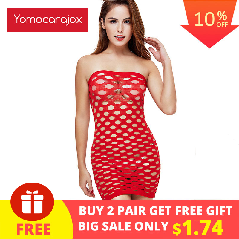 Yomocarajox Female Women Erotic Porn Sexy Lingerie Fishnet Seamless Crotch Mini Dress Body Stocking Nightwear Nightdress Costume