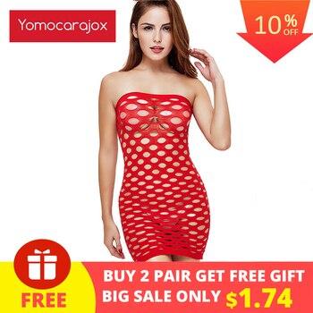 Yomocarajox Female Women Erotic Porn Sexy Lingerie Fishnet Seamless Crotch Mini Dress Body Stocking Nightwear Nightdress Costume