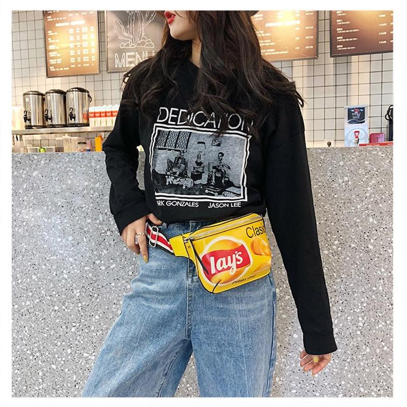 Graffiti Printed Women Waist Bag For Hip Hop Potato Chip Belt Bag Quality PU Mini  Fanny Pack Shoulder Crossbody Chest Bag Purse