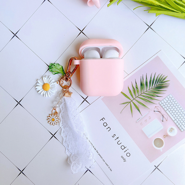 Luxury Cute Korean Flower Decoration Case for Apple Airpods Case ornament Accessories Bluetooth Earphone Silicone Cover Key Ring 4
