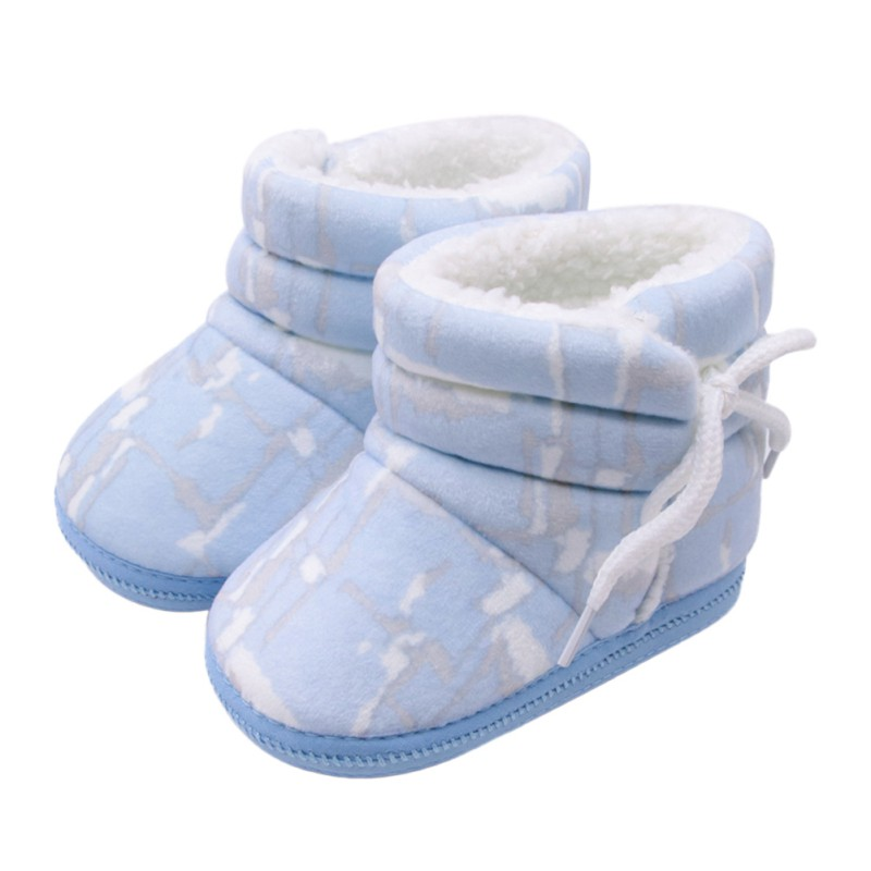 Newborn Baby Girls Boys Irregular Printed Cotton Boots Side Straps Shoes Baby Toddler Shoes Baby Boy Shoes Winter Warm Shoes