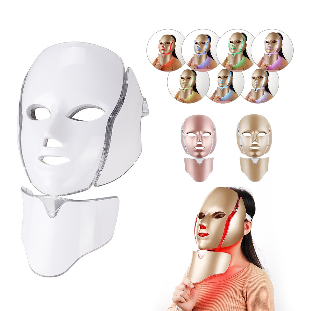 Foreverlily 7 Colors Photon Facial Beauty Mask Skin Rejuvenation LED Light Mask With Neck Anti-Acne Treatment Anti-Aging SPA