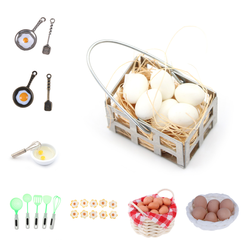 1:12 Mini Egg With Egg Nest Scale Dollhouse Miniature Accessories Kitchen Fried Eggs Pot For Doll House Cooking Game