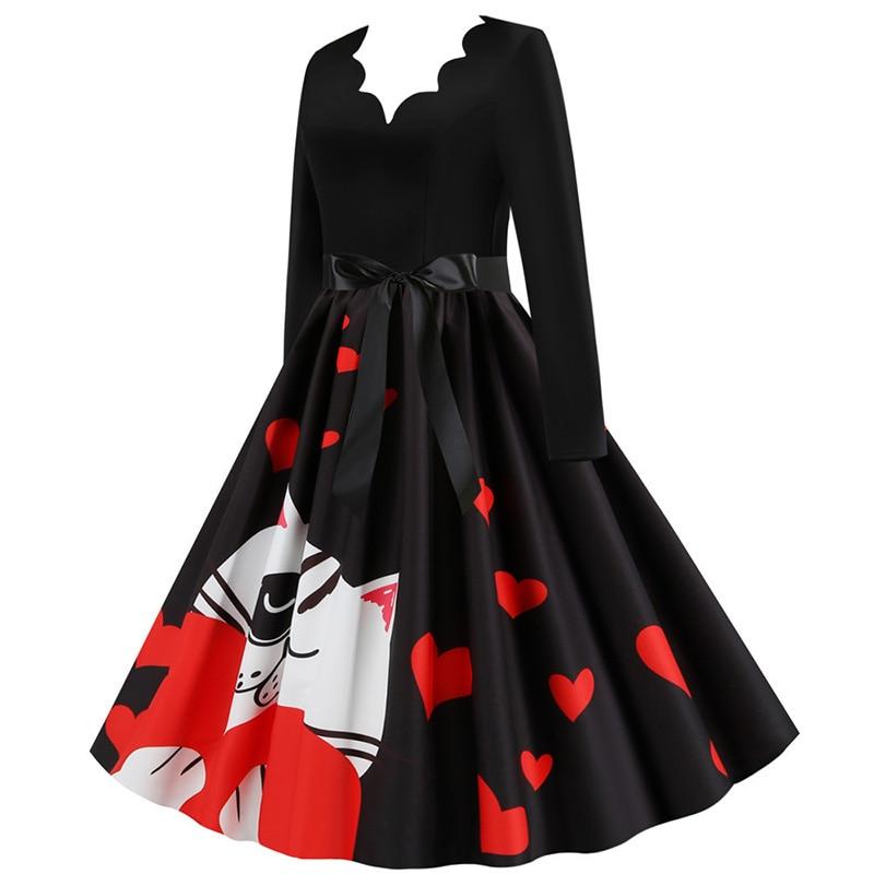 Women Long Sleeve Winter Vintage Dresses Sexy Black Music Note Print V-neck Rockabilly Pin up Party Dress Vestidos Plus size 598