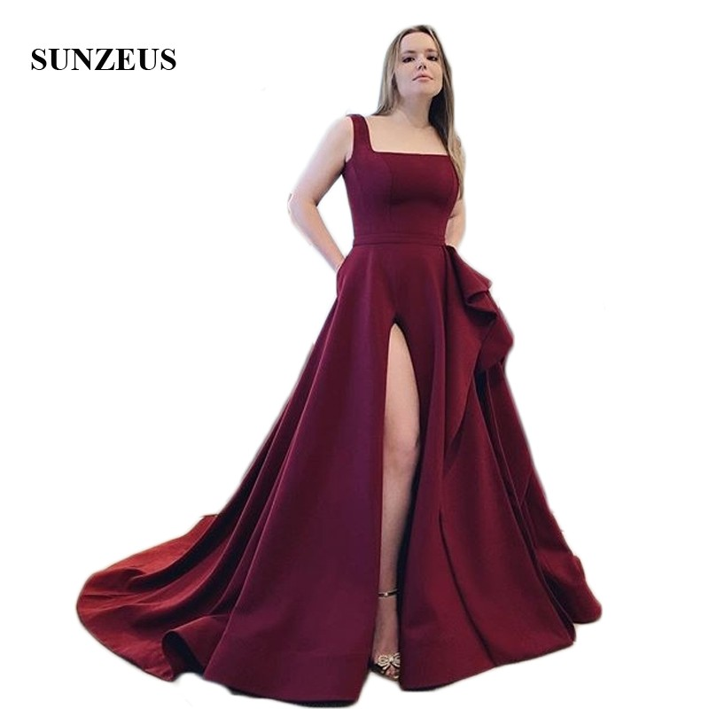 Burgundy Jersey Long Formal   Evening     Dresses   2019 Square Neck A-Line   Evening   Gowns Open Back Leg Slit   Dress   Party with Pockets
