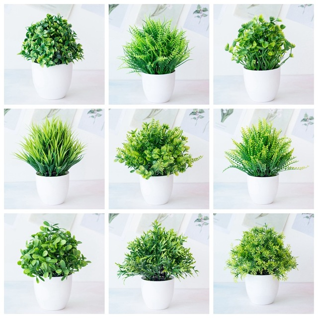 1pc Artificial Plants Green Bonsai Small Tree Pot Plants Fake Flower Potted Ornaments for Home Decoration Craft Plant Decorative 1
